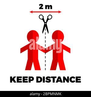 Poster halte Abstand zu anderen Menschen. Vorsichtsmaßnahmen für das Coronavirus. Schritte zum Schutz Ihrer selbst. - Stockfoto