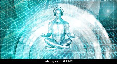 Mann mit Kopfhörer Musik hören und Meditieren