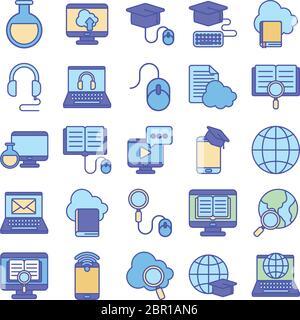 Linie und Füllung Stil Icon Set Design, Bildung Online-und elearning-Thema Vektor-Illustration Stockfoto