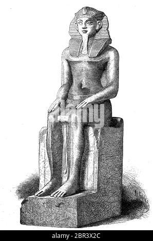 Statue eines Sebakhotep die dreizehnte Dynastie, Ägypten, Chaancher Sobekhotep, Chaancher Sebekhotep, ein alter ägyptischer König der 13. Dynastie Inzwischen, ungefähr V bis 1735. Regierte AD. / Statue eines Sebakhotep der dreizehn Dynastie, Ägypten, Chaancher Sobekhotep, Chaancher Sebekhotep, ein altägyptischer König der 13. Dynasty Zwischenzeit, der etwa um 1735 v. Chr. regierte, historisch, historisch, digital verbesserte Reproduktion eines Originals aus dem 19. Jahrhundert / Digitale Reproduktion einer Originalvorlage aus dem 19. Jahrhundert, - Stockfoto