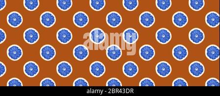 Nahtloses Muster mit Scheiben von Zitronenfrüchten in blau auf braunem Hintergrund getönten gemacht. - Stockfoto