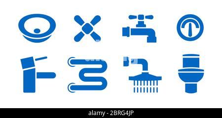 Badezimmer Sanitär Ausrüstung isoliert Symbole gesetzt. Vektorgrafiken von undichten Rohren, Heizhandtuchrohr, Wasserhahn Mischer, Ventil, WC, Waschbecken, Waschbecken - Stockfoto