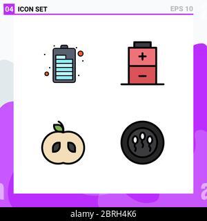 Set von 4 modernen UI-Symbole Symbole Symbole Zeichen für Batterie, 84, Apfel, Spermien, editierbare Vektor Design-Elemente - Stockfoto