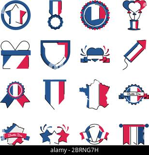 frankreich Linie und Füllung Stil Symbol Set Design, Bastille Tag und französisch Thema Vektor-Illustration Stockfoto