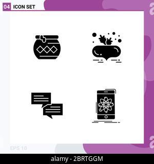 Set von modernen UI-Icons Symbole Zeichen für Topf, Chat, pongal, Rote Bete, Nachricht editierbare Vektor-Design-Elemente - Stockfoto