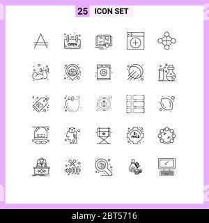 25 User Interface Line Pack moderner Zeichen und Symbole der Hierarchie, Grafiken, Buch, neu, fügen Sie editierbare Vektor Design-Elemente - Stockfoto