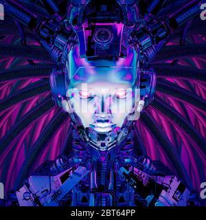 Königin der Datensphäre / 3D-Illustration der Science-Fiction-weiblich Alien android künstliche Intelligenz - Stockfoto