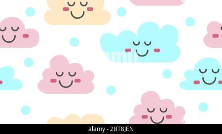 Wolken am Himmel. Baby nahtlose Wolken Muster. Vektorgrafik - Stockfoto