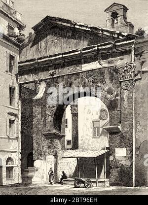 Fronton des Porticus Octaviae, Pescheria Side, Rom. Italien, Europa. Reise nach Rom von Francis Wey 19. Jahrhundert - Stockfoto