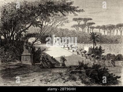 Gärten der Villa Doria Pamphili, Rom. Italien, Europa. Reise nach Rom von Francis Wey 19. Jahrhundert - Stockfoto
