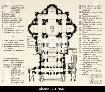 Plan der Basilika des Heiligen Petrus, Vatikanstadt, Rom. Italien, Europa. Reise nach Rom von Francis Wey 19. Jahrhundert - Stockfoto