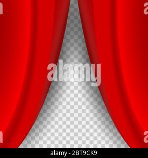 Halb offener roter Vorhang mit weichem Schatten. Realistischer roter Samtvorhang auf dem karierten Hintergrund. - Stockfoto