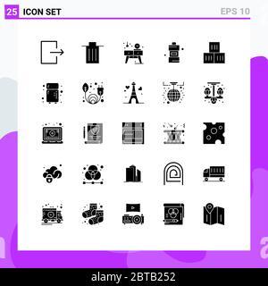 Set von 25 modernen UI Symbole Symbole Zeichen für gut, Waschmittel, Haus, Reinigung, Bad editierbar Vektor Design-Elemente - Stockfoto