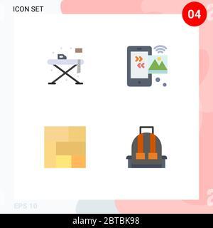 Piktogramm Set von 4 einfachen flachen Icons von zu Hause, golden, Tisch, Internet der Dinge, Abschnitt editierbare Vektor Design-Elemente - Stockfoto