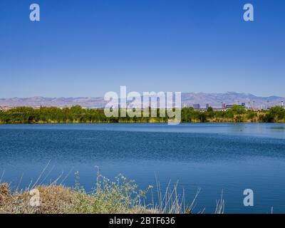 Sonnige Aussicht auf die Skyline des Las Vegas Strip von Henderson in Nevada - Stockfoto