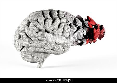 Zerbrochene Gehirn mit Mesh bedeckt. Konzeptionelle 3d-Illustration hilfreich bei der Visualisierung von Gehirnerkrankungen. - Stockfoto