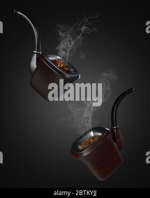 Zwei Vintage Pfeifenrauch schweben auf schwarzem Hintergrund im Dunkeln. Aus dem Rohr schwebte weißer Rauch. Das Konzept des Anti-Tabak und des Wor - Stockfoto