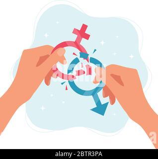 Konzept der Geschlechternormen. Hände, die Geschlechtszeichen halten, die in Stücke brechen. Vektorgrafik im flachen Stil - Stockfoto