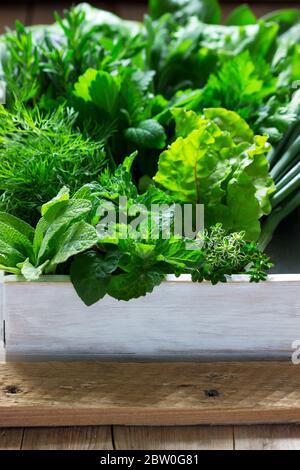 Eine Vielzahl von würzigen Kräutern, Salat und grünen Zwiebeln auf einem hölzernen Hintergrund. Rustikaler Stil.