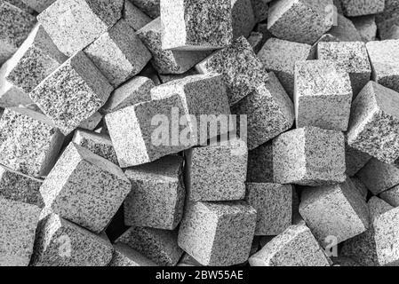 Graue Steinpflaster Steine als Hintergrund. - Stockfoto