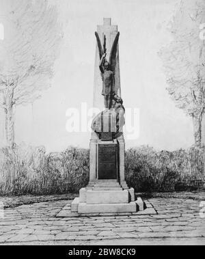 Marschall Foch zu enthüllen markante Denkmal für die 1. Division (BEF) in Chapeau Rouge, in der Nähe von Le Cateau. 12. April 1927 - Stockfoto
