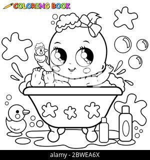 Baby Mädchen in einer Badewanne ein Bad. - Stockfoto
