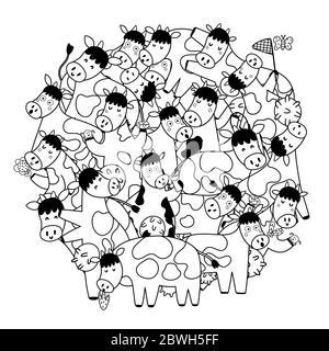 Kreis Form Muster mit niedlichen Kühe zum Ausmalen Buch - Stockfoto