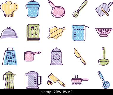 Koch- und Küchenlinie und Füllstil Symbol Set Vektor-Design Stockfoto