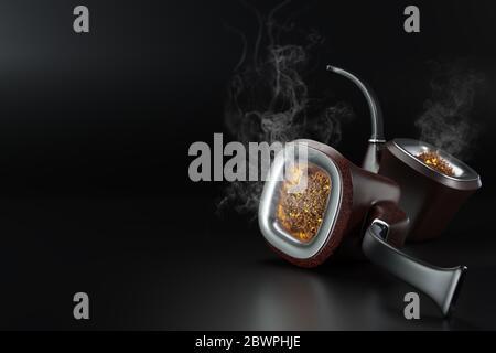 Zwei Vintage Pfeife Rauch auf schwarzem Hintergrund in dunkel platziert. Es gibt weißen Rauch, der durch einen Brand verursacht wird, der aus einem Rohr schwimmt. Konzept der Anti-Tabak und - Stockfoto