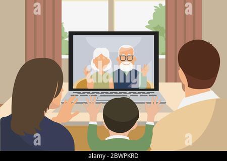 asiatische Familie mit Kind Begrüßung und Gespräch mit Großeltern mit Laptop per Videoanruf - Stockfoto