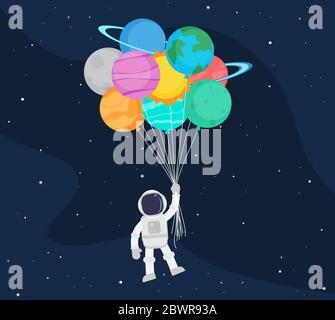 Nette Astronaut Cartoon schweben mit Ballon Planeten im Weltraum Hintergrund - Vektor-Illustration - Stockfoto