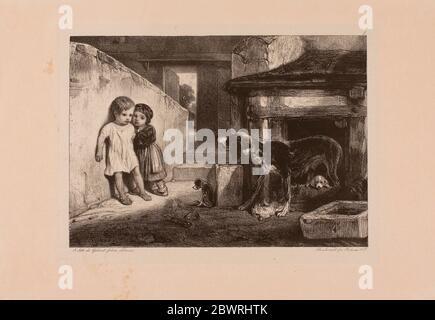 Autor: Alexandre Gabriel Decamps. Kinder erschrocken von einem Hund - 1829 - Alexandre Gabriel Decamps Französisch, 1803-1860. Lithographie in schwarz auf weiß - Stockfoto