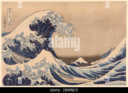 Autor: Katsushika Hokusai. Unter der Welle vor Kanagawa (Kanagawa oki nami ura), auch bekannt als die große Welle, aus der Serie 'Thirty-Six Views of