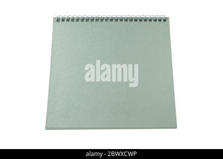 Grauer leerer Tischkalender isoliert auf weißem Hintergrund. - Stockfoto