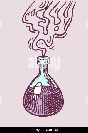 Hexentrank. Mystische Alchemie Getränk in einer Flasche. Astrologie-Symbol. Magic Boho Illustration. Handgezeichnete gravierte Skizze für Tattoo oder T-Shirt. - Stockfoto
