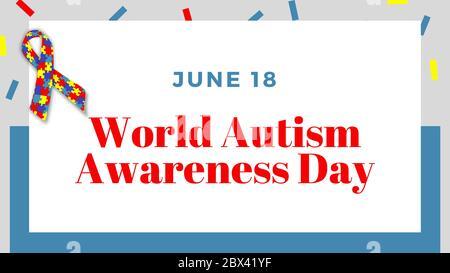 Autistischer Stolz. Juni 18. Urlaubskonzept. Vorlage, Hintergrund, Banner, Karte, Poster mit dem Text World Autism Awareness Day. - Stockfoto