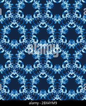Shibori Krawatte Dye Effekt Sechseck Hintergrund. Nahtloses Muster Abstrakt Textil-Swatch in Bleichart gefärbt Indigo Blau. Vektor EPS 10 - Stockfoto