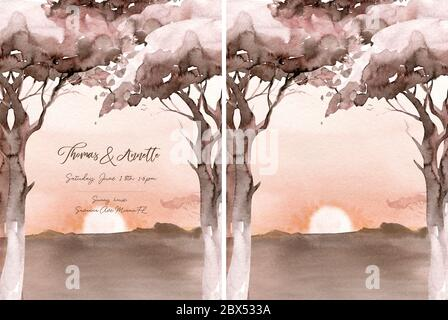 Aquarelllandschaft: sonnenaufgang in der afrikanischen Wüste. Handbemalte Naturansicht mit Akazienbäumen. Schöne Safari-Szene für Hochzeit Einladung vorgefertigte Karte - Stockfoto