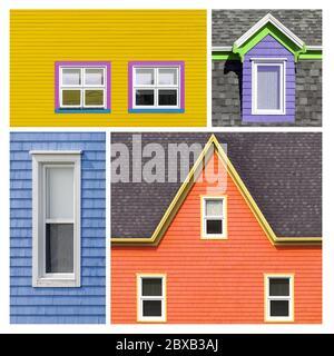 Fenstercollage in hellen und kräftigen Tönen von Gelb, Orange, Rosa, Blau, Grün und Lila. Farbige Fenster und Schindelwände Hintergrund.