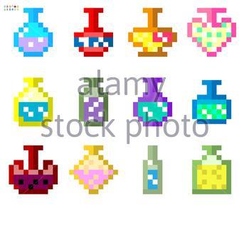 Indie-Stil Satz von Tränken in einem 8-Bit-Indie Arcade-Spiel. Pixel-Kunst, Flaschen mit Tränken in verschiedenen Farben und Füllungen .. - Stockfoto