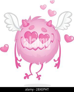 Lustige runde Monster in der Liebe. St. Valentines Day Amor Charakter Stockfoto