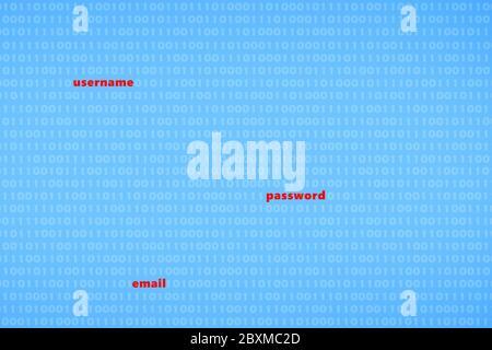 Gehacktes Passwort für Benutzernamen und E-Mail-Datenschutzverletzung - Cybercrime-Konzept - Stockfoto