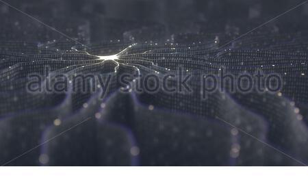 Künstliches Neuron im Konzept der künstlichen Intelligenz. Wand-förmigen Binärcodes machen Übertragungsleitungen Impulse und/oder Informationen in einer Analogie t - Stockfoto