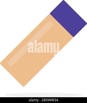 Gesicht Fundament in Flasche Vektor flaches Material Design isoliertes Objekt auf weißem Hintergrund. - Stockfoto
