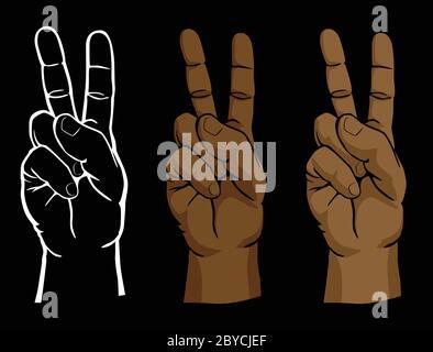 Erhöhte Frieden Zeichen Hand Set einschließlich Line-Art und Flesh-Ton-Versionen isoliert Vektor-Illustration - Stockfoto