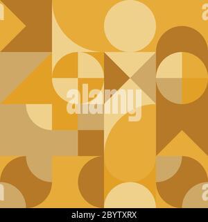 Abstraktes geometrisches Retro-Design. Vektor-Nahtloses Muster in gelben Farbtönen. - Stockfoto
