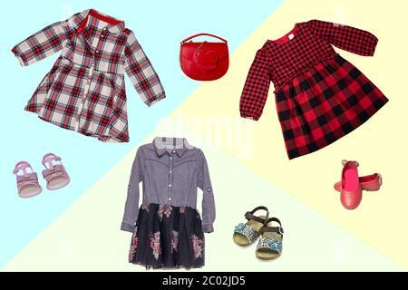 Collage Set von kleinen Mädchen Kleidung für den Tag des ...
