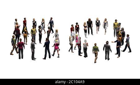 Menschen - in Nummer 90 angeordnet - ohne Schatten - isoliert auf weißem Hintergrund - 3D-Darstellung - Stockfoto