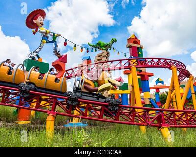 ORLANDO, FLORIDA – 1. Juli 2018 – Slinky Dog Dash in Toy Story Land in Hollywood Studios, Walt Disney World, Eröffnung am 30. Juni 2018. - Stockfoto