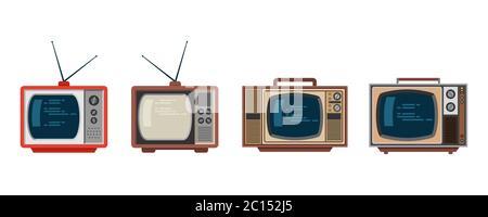 Vektor-Illustration eines klassischen Retro-TV-Form-Modell aus den 80er Jahren. Eine Vielzahl von elektronischen Vintage-Fernseher. Klassische elektronische Objekte. - Stockfoto